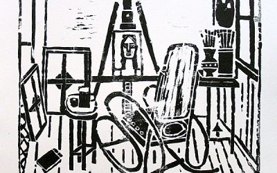 """Studio with Rocking Chair"", A Woodcut"